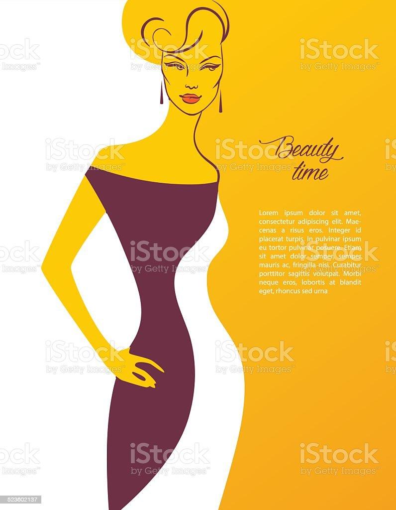 Beautiful woman's silhouette image vector art illustration