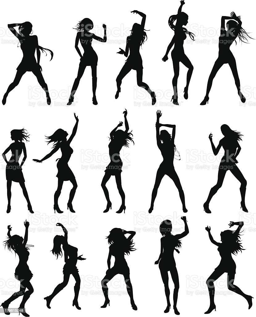 Beautiful women dancing silhouettes royalty-free stock vector art