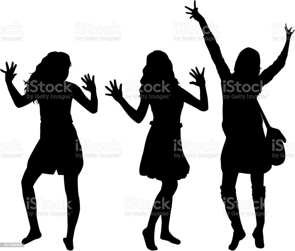 Beautiful women dancing. vector art illustration