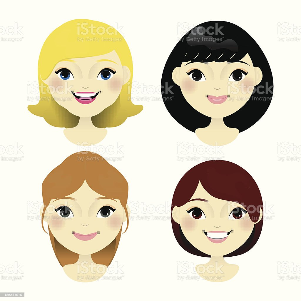 Beautiful women faces isolated on white background royalty-free stock vector art
