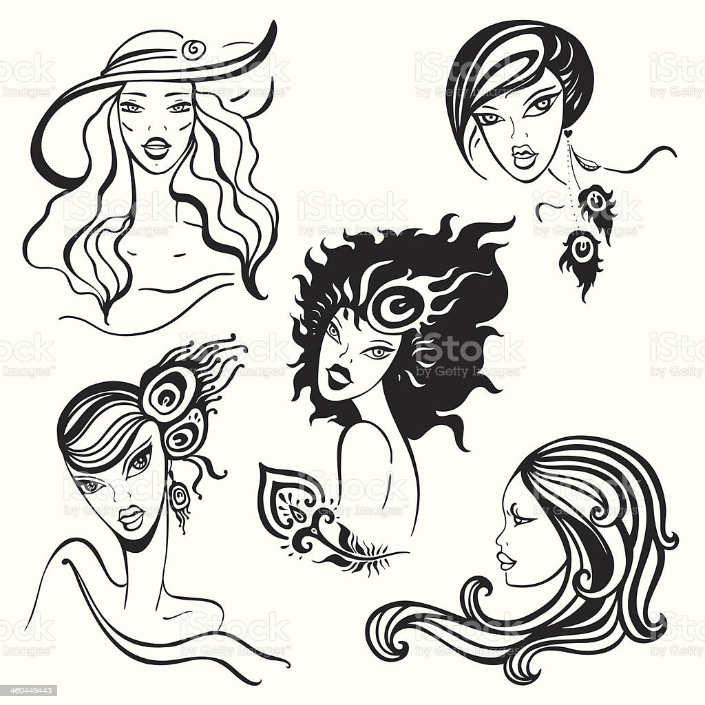 Beautiful Women set. royalty-free stock vector art