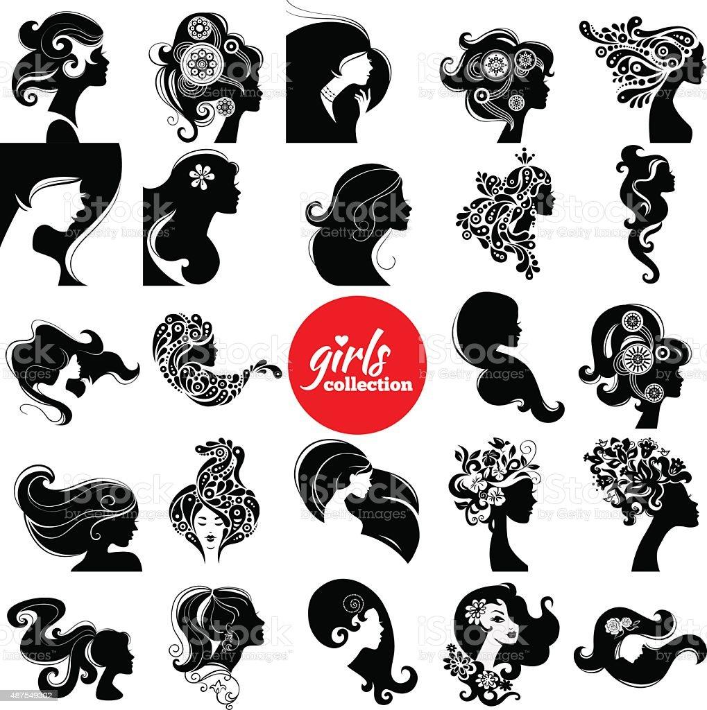Beautiful women silhouette. vector art illustration