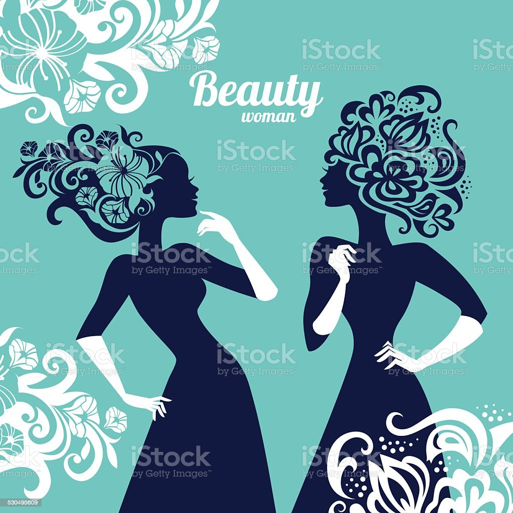 Beautiful women silhouette with flowers vector art illustration