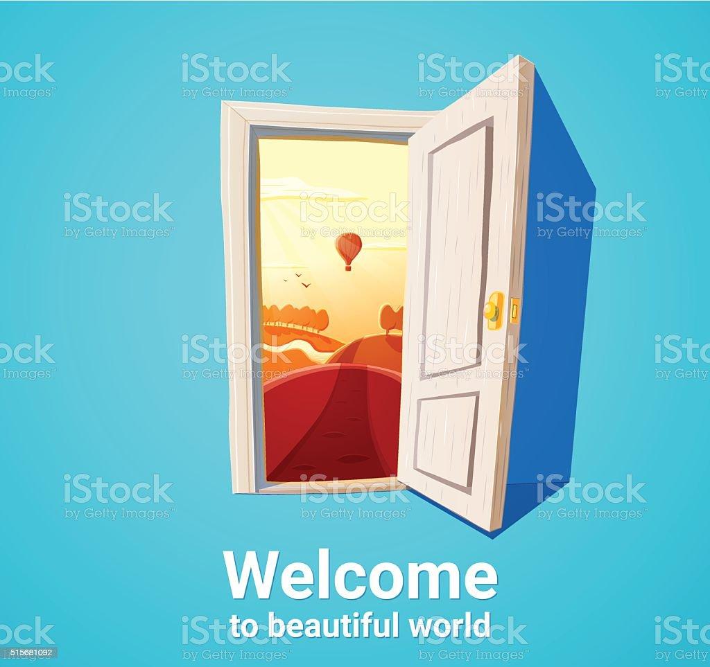 Beautiful world door vector art illustration