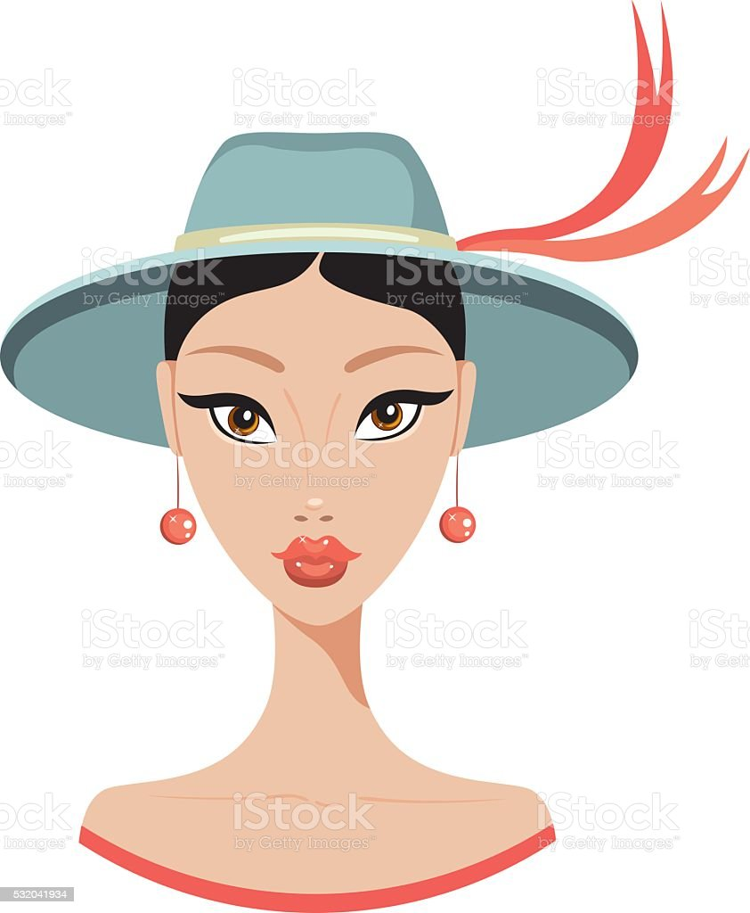Beautiful young Asian woman in stylish hat Fashion model portrait vector art illustration