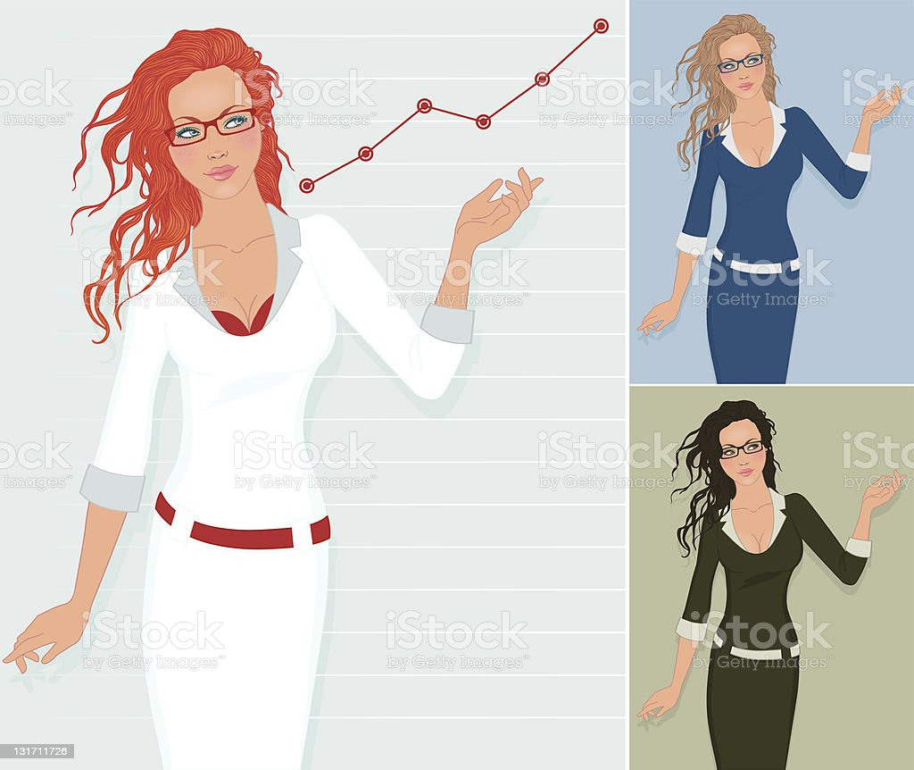 Beautiful young business woman shows successful chart royalty-free stock vector art