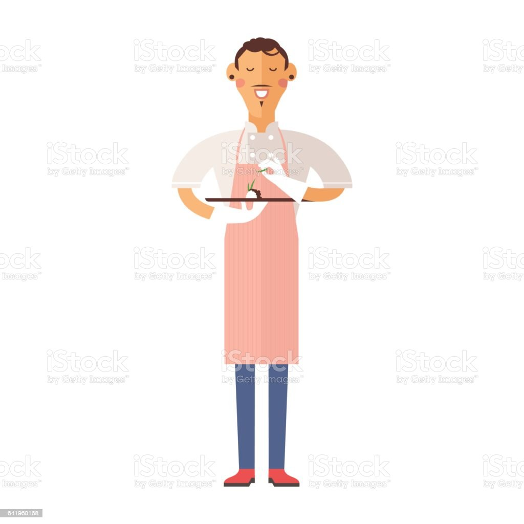 Beautiful young chef decorating delicious character vector vector art illustration