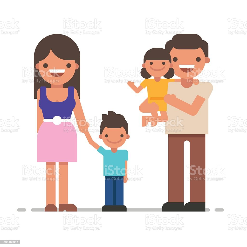 Beautiful young family portrait. Happy family gesturing with cheerful smile vector art illustration