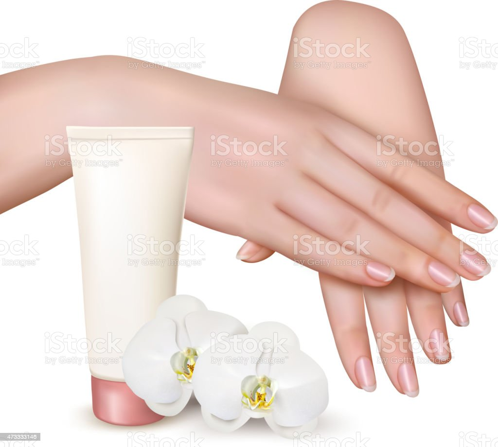 Beautiful young female hands with a cream and orchids. Vector. vector art illustration