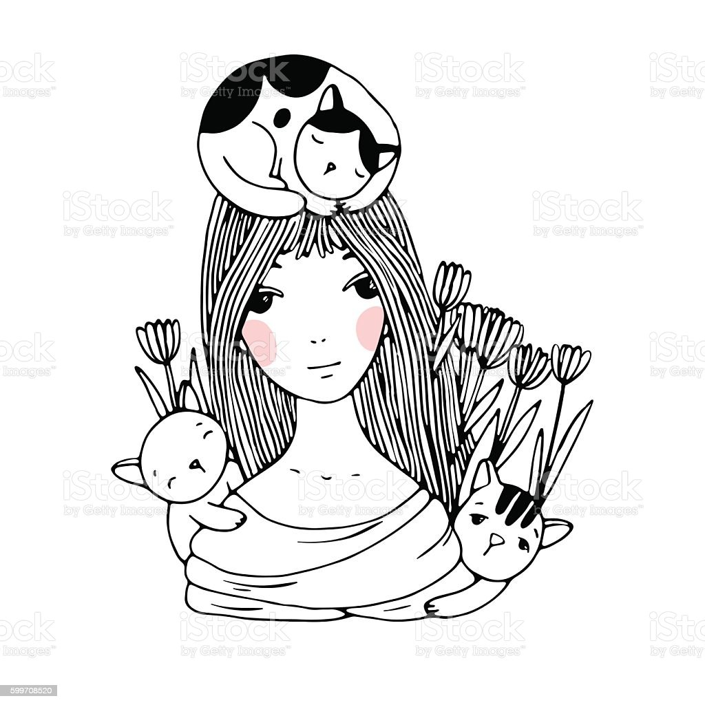 Beautiful young girl, cats and tulips. vector art illustration
