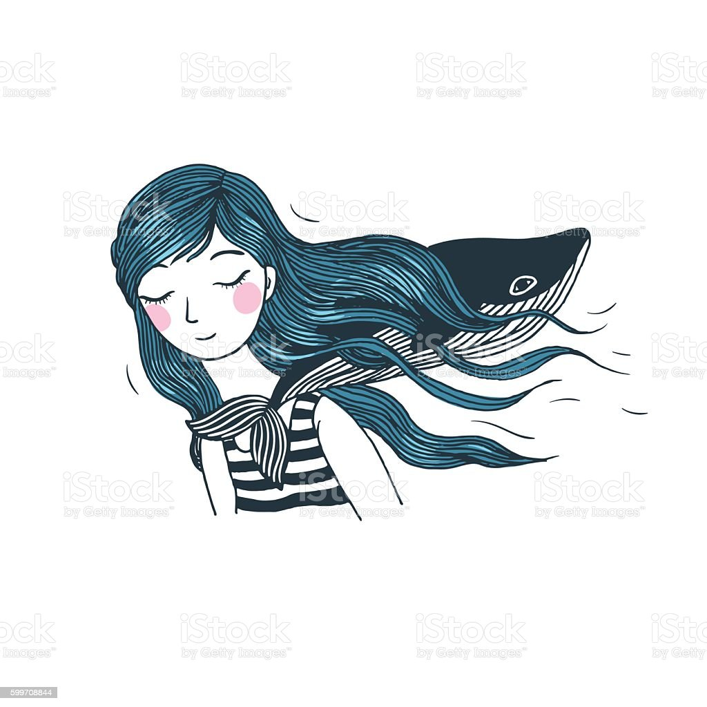Beautiful young girl with a whale. vector art illustration