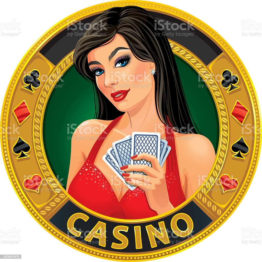 Beautiful young lady in evening dress holding playing cards vector art illustration