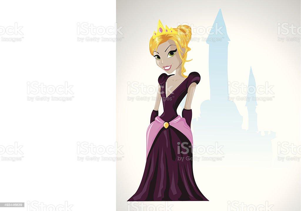 Belle jeune princesse devant son château stock vecteur libres de droits libre de droits