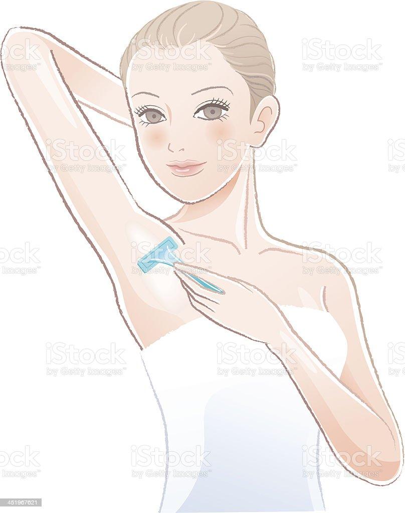 Beautiful young woman    applying razor to the shaving armpit vector art illustration