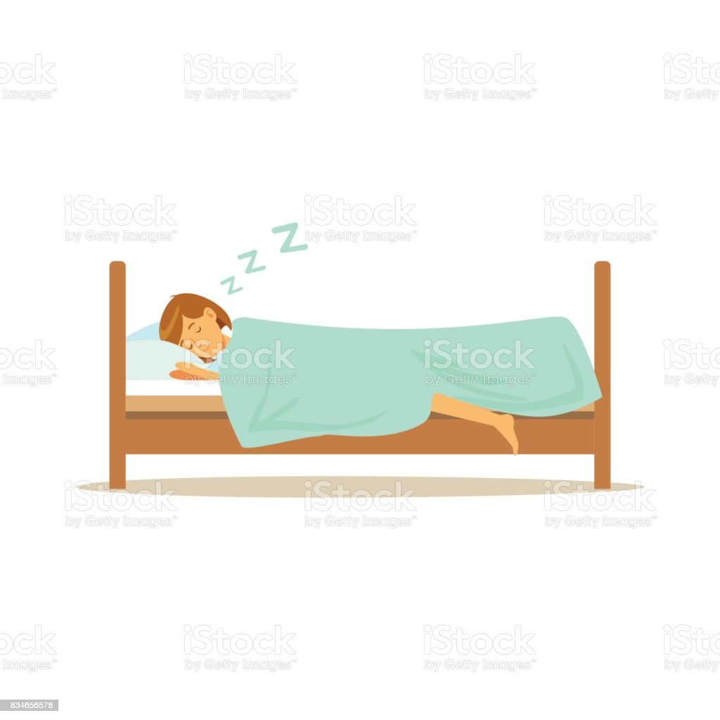 Beautiful young woman character sleeping in her bed, people resting vector Illustration vector art illustration