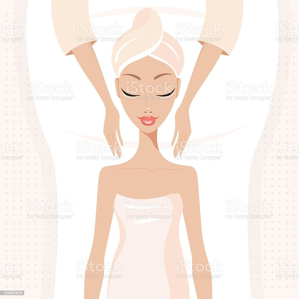 Beautiful young woman relaxing at spa salon Face Body massage vector art illustration