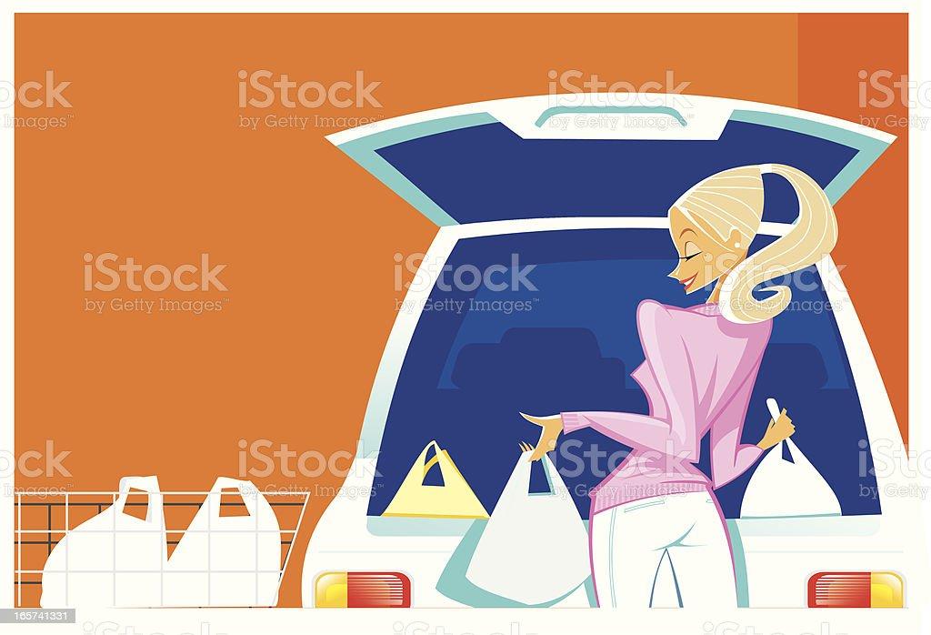 Beautiful young woman shopping vector art illustration