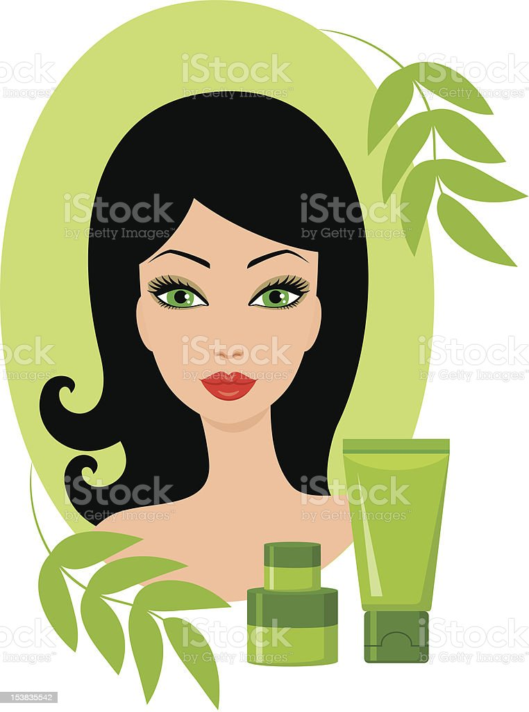 Beautiful young woman with a cosmetics set royalty-free stock vector art