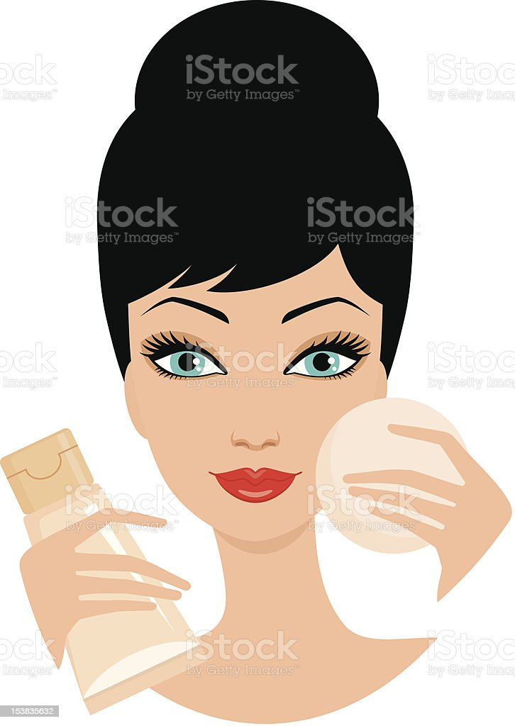Beautiful young woman with foundation cream and a cosmetic sponge vector art illustration