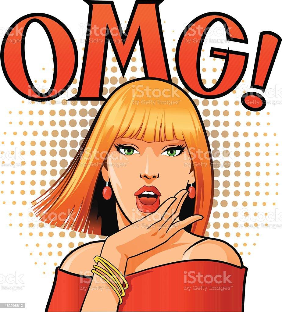 Beautifull Blond OMG Woman With Speech Balloon vector art illustration