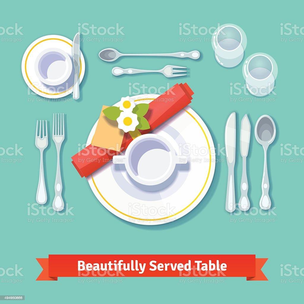 Beautifully served table. Formal dinner setting vector art illustration