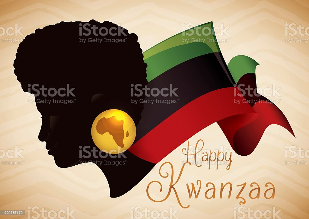 Beauty Afro-American Woman Silhouette with Kwanzaa Flag. vector art illustration
