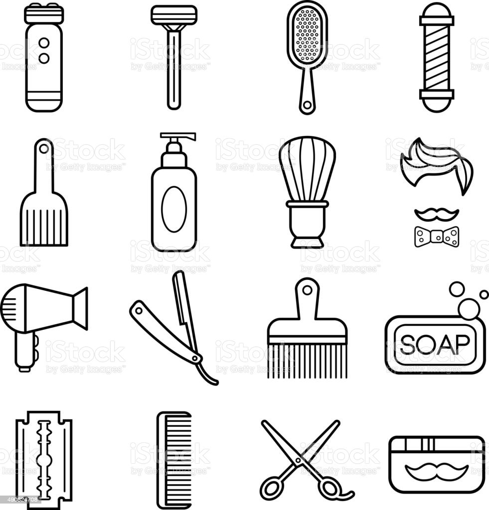 Beauty and Care Barber Shop Linear Icons vector art illustration