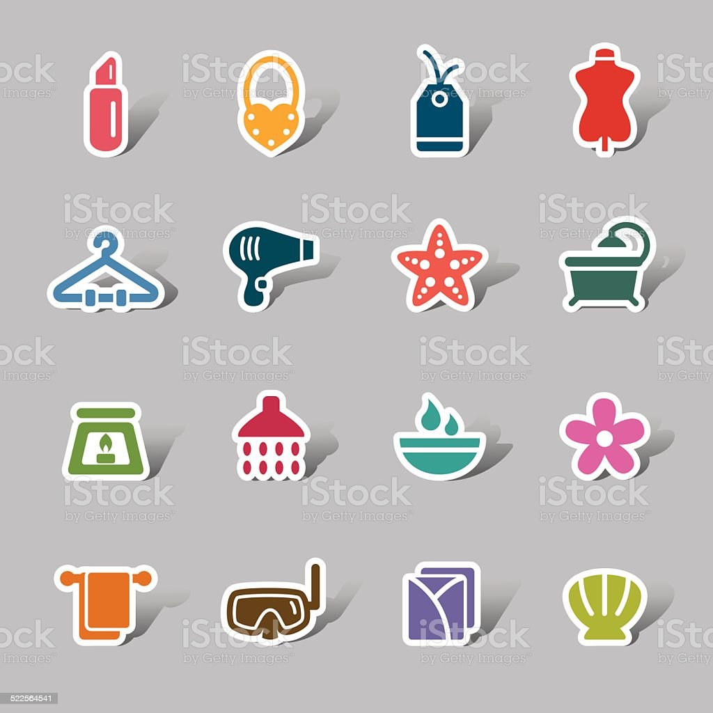 Beauty and Cosmetic Color Icon Label vector art illustration