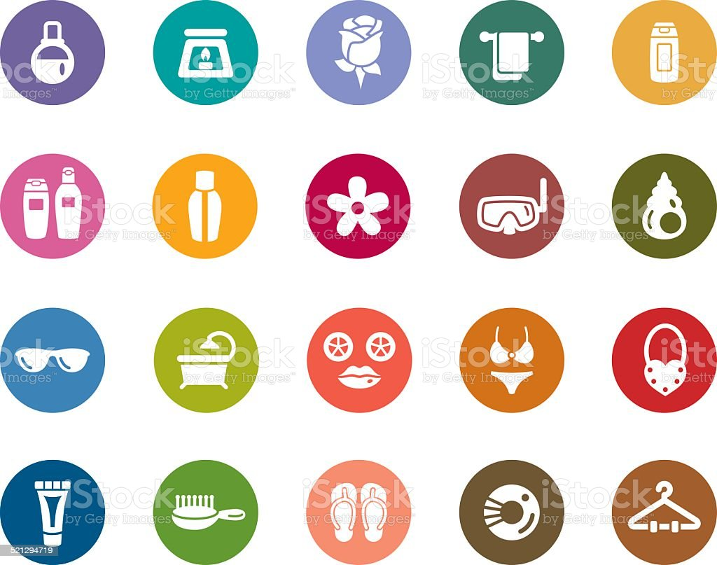 Beauty and Cosmetic Color Icons vector art illustration
