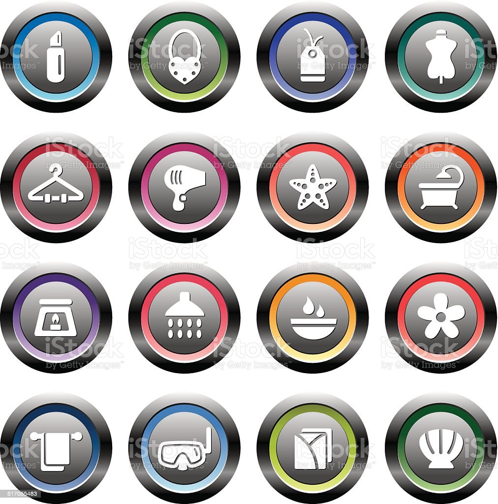 Beauty and Cosmetic Icons in Circle Shape vector art illustration