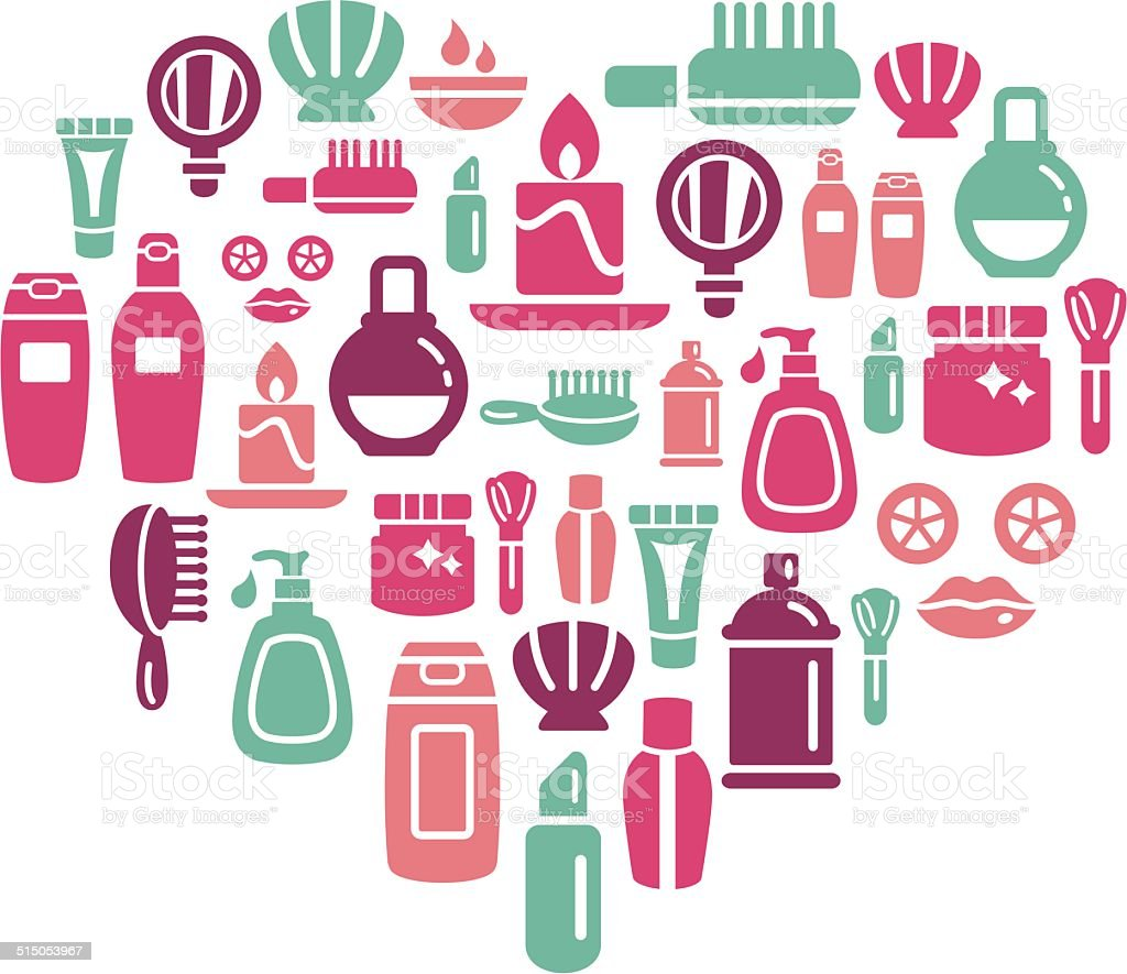 Beauty and Cosmetic Icons in Heart Shape vector art illustration