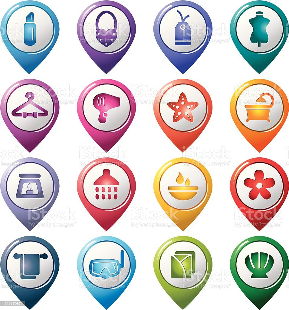 Beauty and Cosmetic Pointer Icons vector art illustration