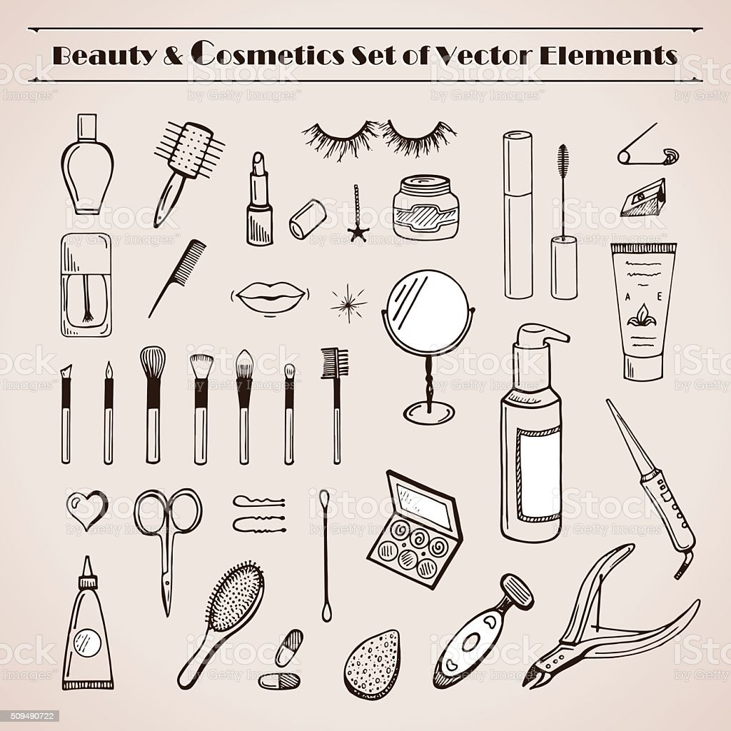 Beauty and cosmetics vector doodles icons vector art illustration