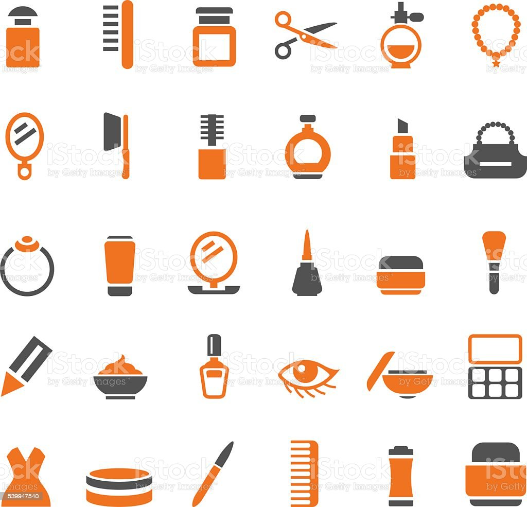 Beauty and makeup icons set vector art illustration