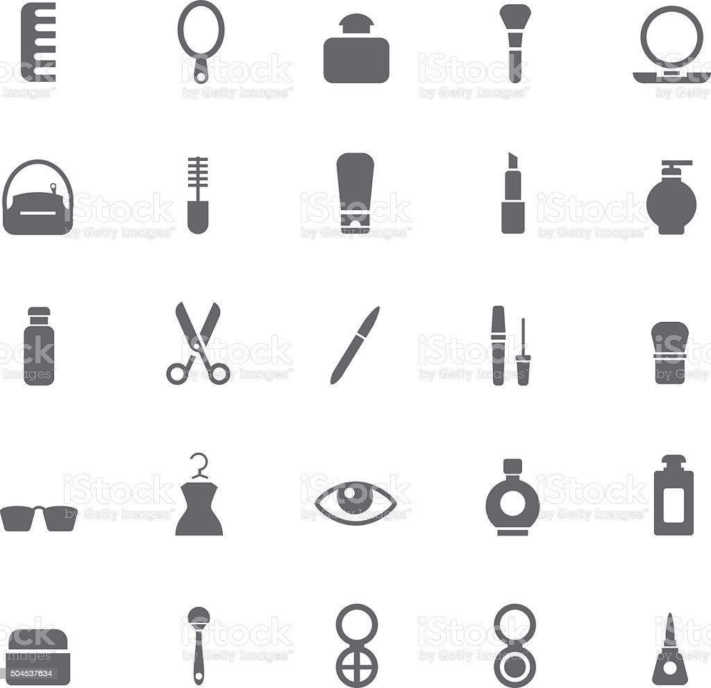 Beauty and makeup icons vector art illustration