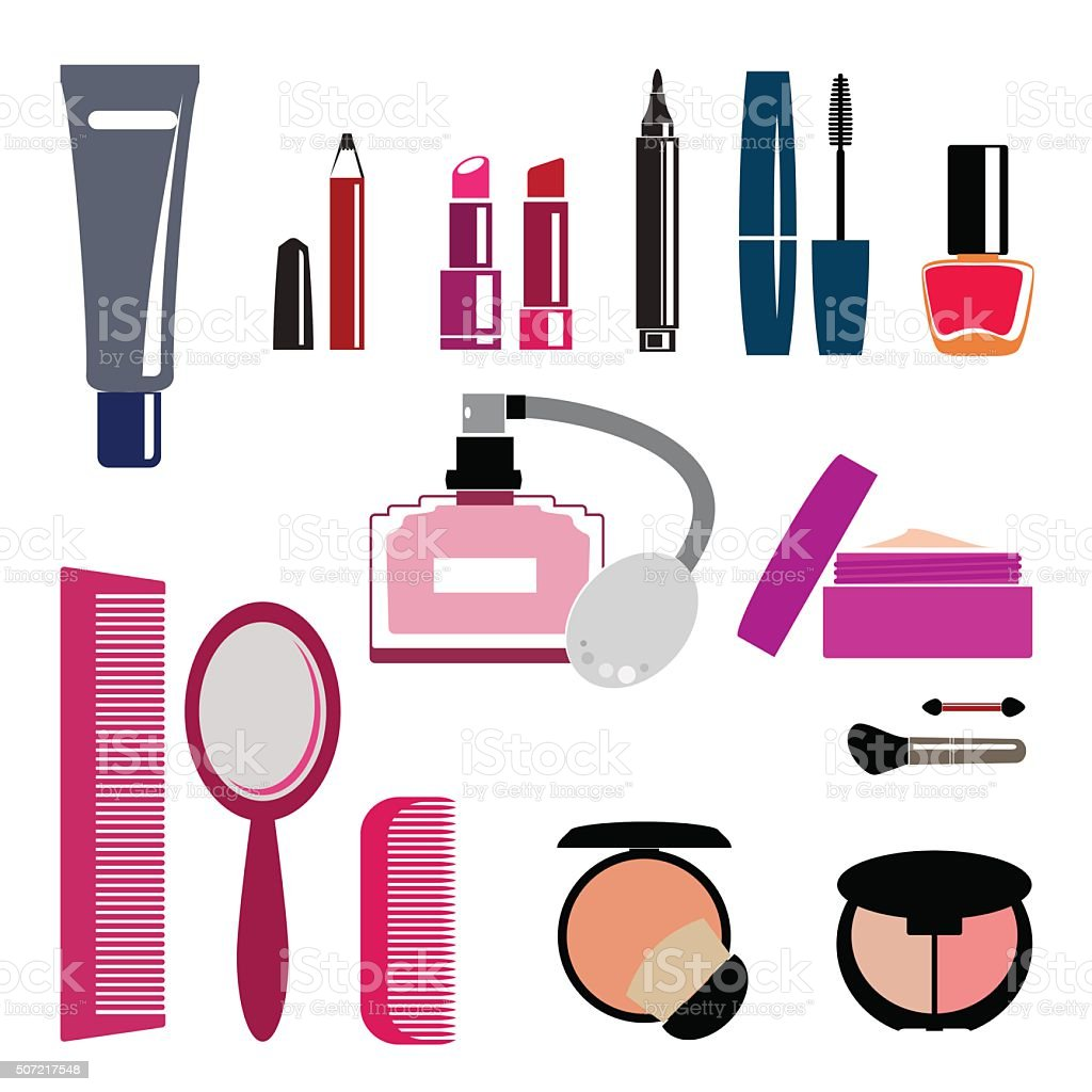 Beauty and makeup Symbols - vector vector art illustration