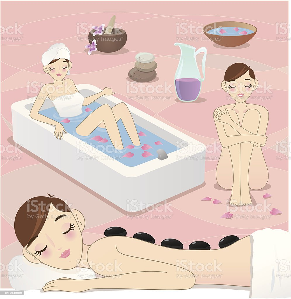Beauty at spa royalty-free stock vector art