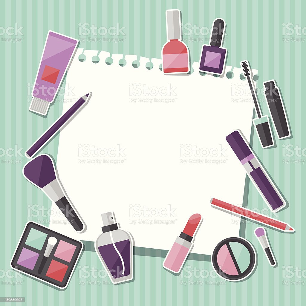 Beauty background with icons cosmetics. vector art illustration