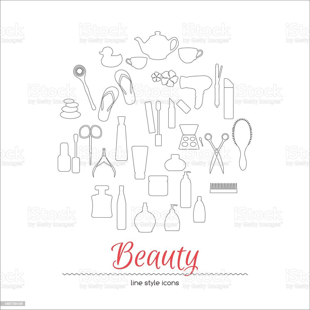 beauty care line style icons vector art illustration
