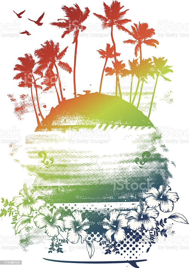 beauty colorful summer scene vector art illustration