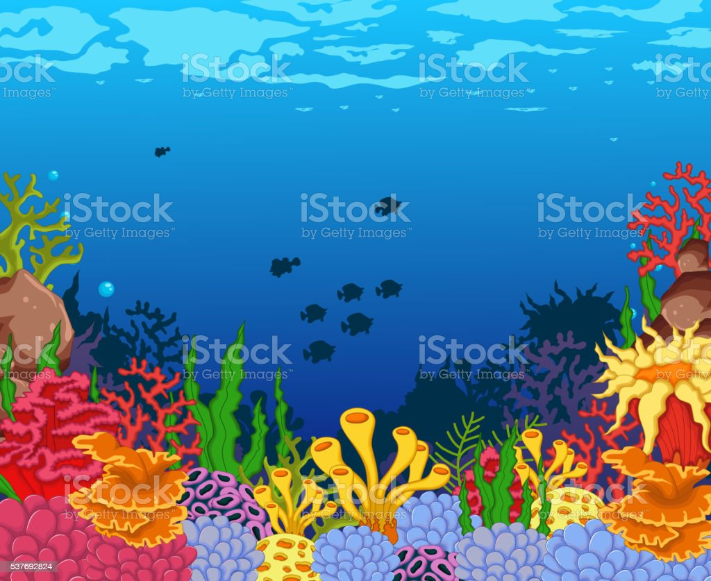 beauty corals with underwater view background vector art illustration