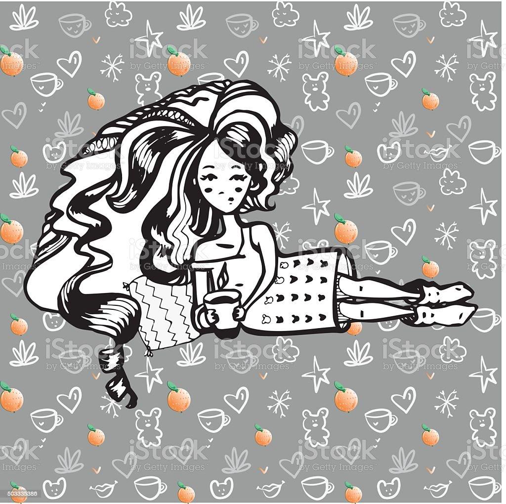 beauty doll vector art illustration