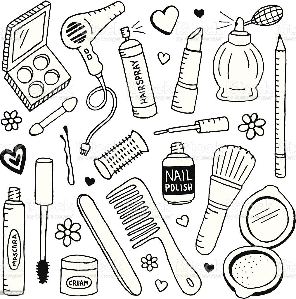Beauty Doodles vector art illustration