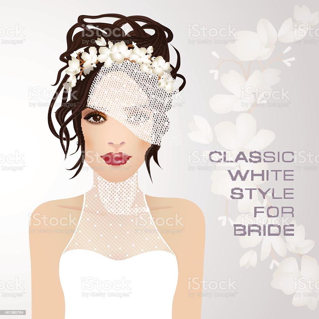 Beauty face of bride. Vector illustration. vector art illustration