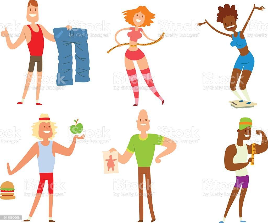 Beauty fitness people weight loss vector art illustration
