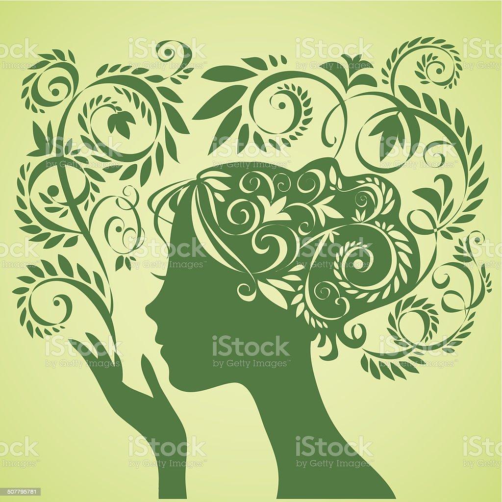 Beauty gir vector art illustration