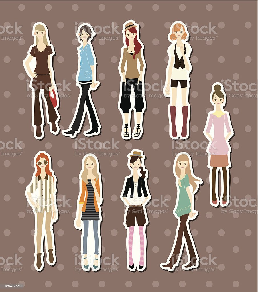 beauty girl stickers royalty-free stock vector art