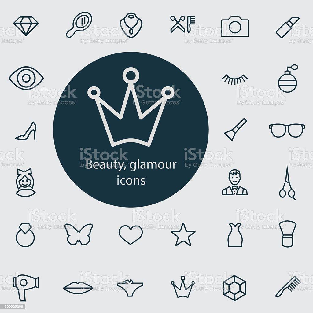 beauty, glamour outline, thin, flat, digital icon set vector art illustration
