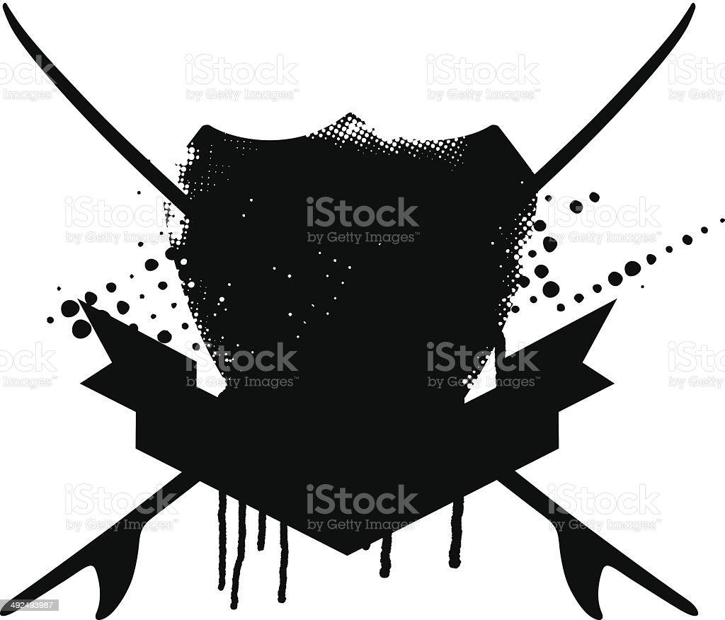 beauty grunge surf shield royalty-free stock vector art