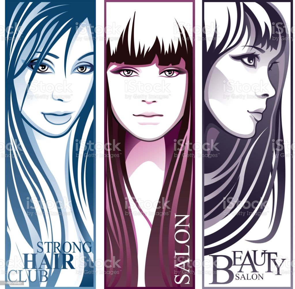 Beauty hairstyle girls royalty-free stock vector art